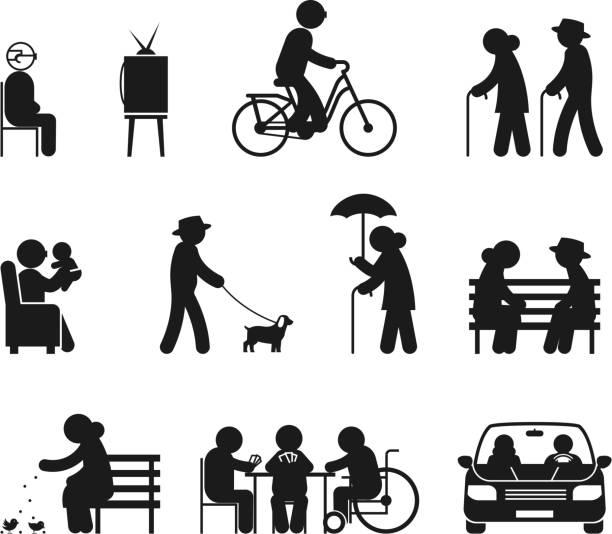 ältere freizeitaktivitäten - urlaubsaktivitäten stock-grafiken, -clipart, -cartoons und -symbole