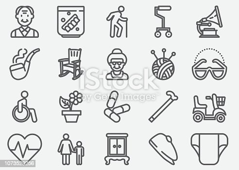 Elderly Line Icons