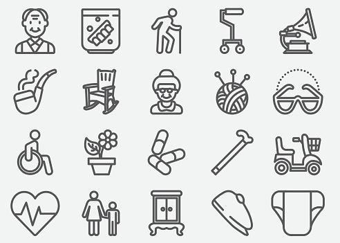 Elderly Line Icons