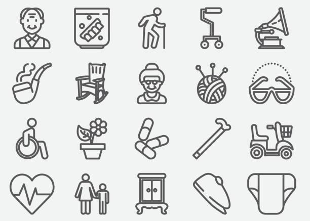 illustrazioni stock, clip art, cartoni animati e icone di tendenza di elderly line icons - grandparents
