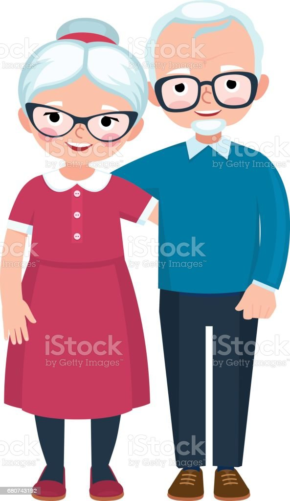 Elderly loving couple husband and wife at full length are embracing on white background - ilustração de arte em vetor