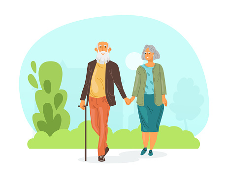 Elderly loving couple man and woman walk in park near the lake holding hands. Walking in city park in warm summer weather. Elderly people walk together