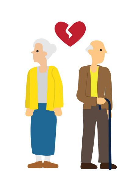 elderly man and woman couple with broken heart. concept of divorce, disagreement or separation - old man sex silhouette stock illustrations, clip art, cartoons, & icons