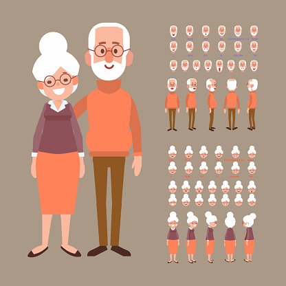 Elderly man and woman creation set with various views, face emotions, poses. Grandmother and grandfather,couple