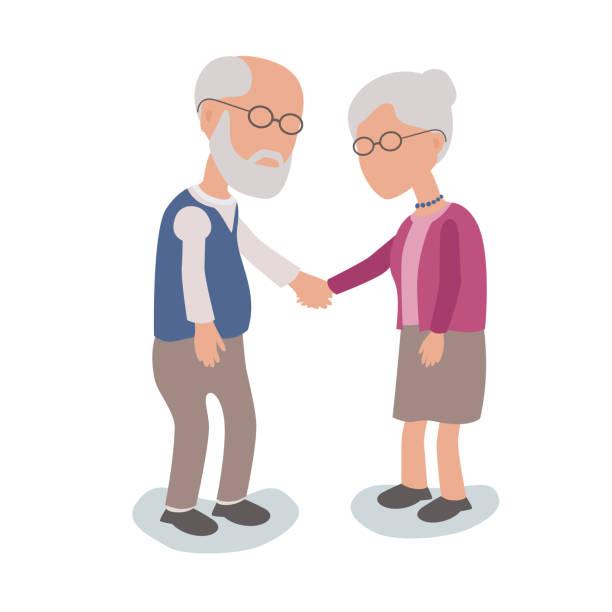 Älterer Mann und Frau, die Hand in Hand – Vektorgrafik