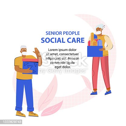 Elderly man and woman in protective medical masks hold boxes with social assistance. Senior people. Helping old people. Support social care, volunteering, charity. Banner template with space for text