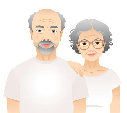 Elderly man and woman in white t-shirts