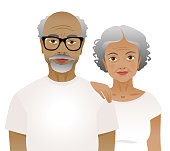 Elderly couple wearing white t-shirts isolated on a white background.
