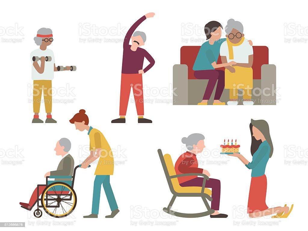 Elderly man and woman set vector art illustration