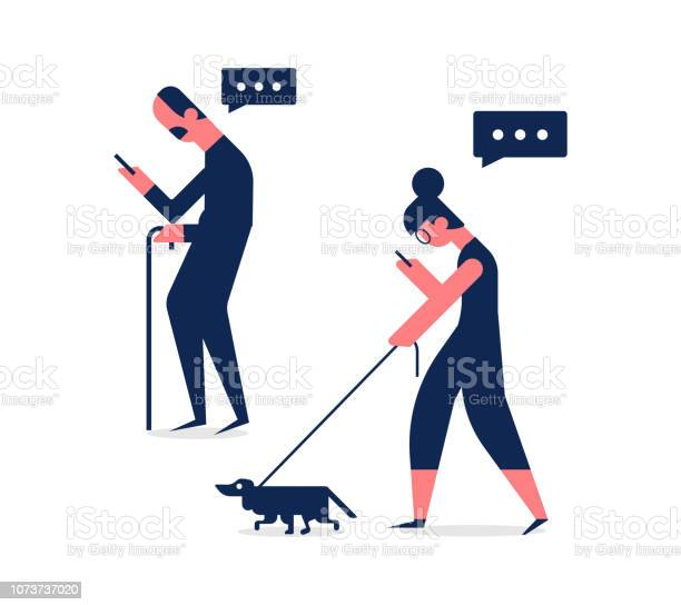 Elderly man and woman walking with gadgets side view flat vector set vector id1073737020?b=1&k=6&m=1073737020&s=612x612&h=qn1sqczf43yg yvydivhmeilcamjqj6pp ebmoquhk0=