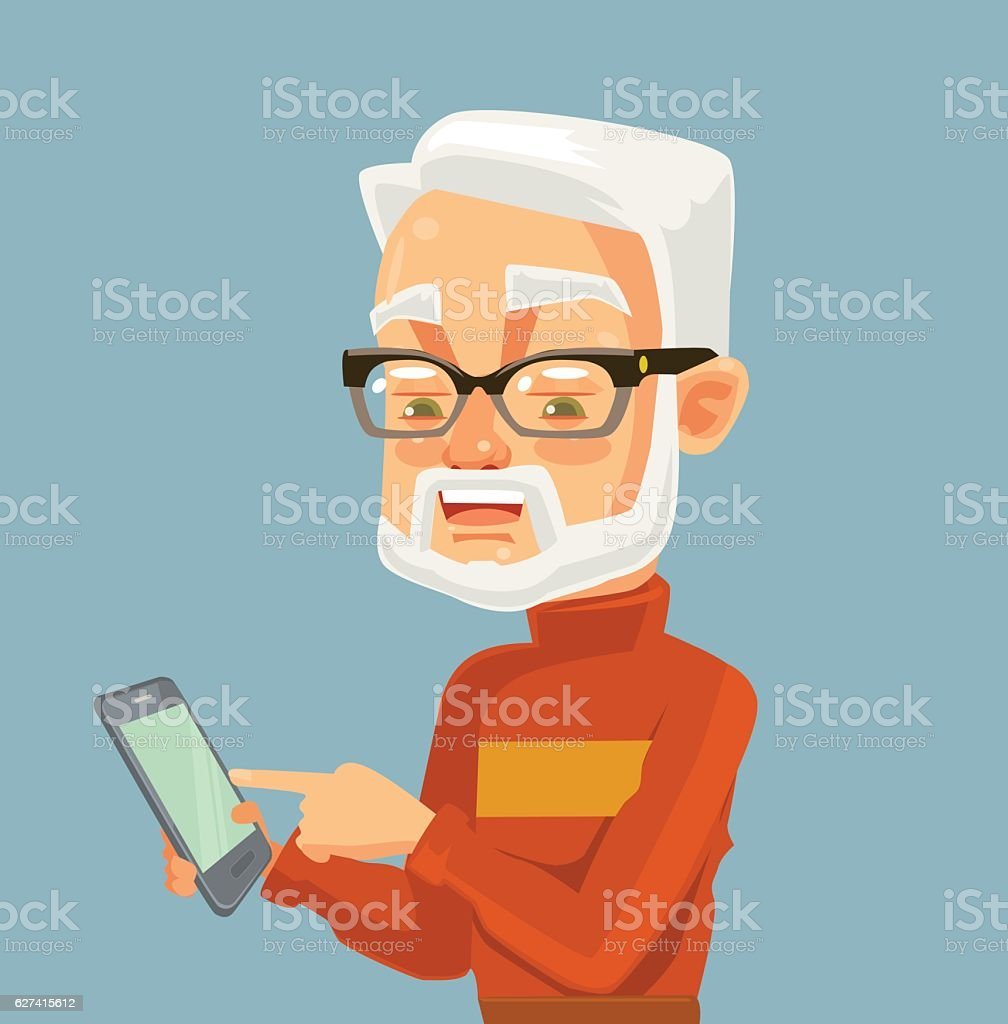 Elderly man character looking on smartphone and typing massage vector art illustration