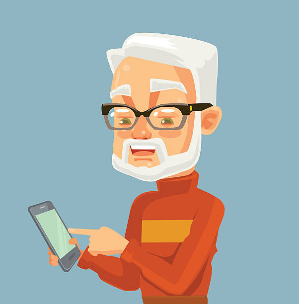 elderly man character looking on smartphone and typing massage - old man computer silhouette stock illustrations, clip art, cartoons, & icons