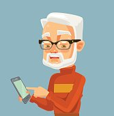 Elderly man character looking on smartphone and typing massage