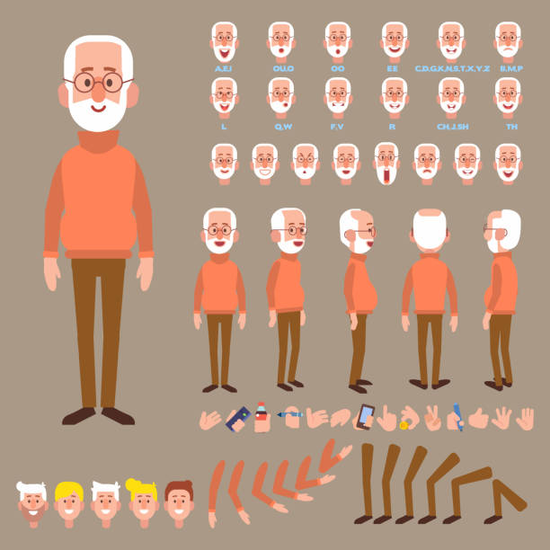 Elderly man creation set with various views, face emotions, poses. Grandfather. Front, side, back, 3/4 view animated character. Separate body parts. Cartoon style, flat vector illustration. one senior man only illustrations stock illustrations
