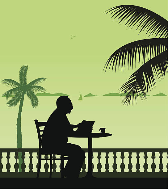 stockillustraties, clipart, cartoons en iconen met elderly man drinking cup of coffee and reading the newspaper - newspaper beach