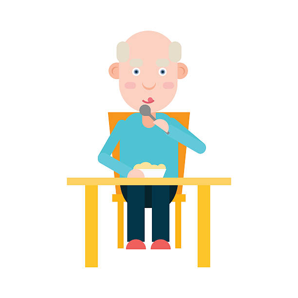 elderly man eat at the table - old man sitting chair silhouettes stock illustrations, clip art, cartoons, & icons