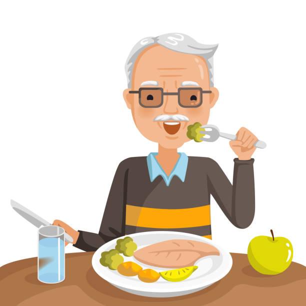 ilustrações de stock, clip art, desenhos animados e ícones de elderly man eating - eating