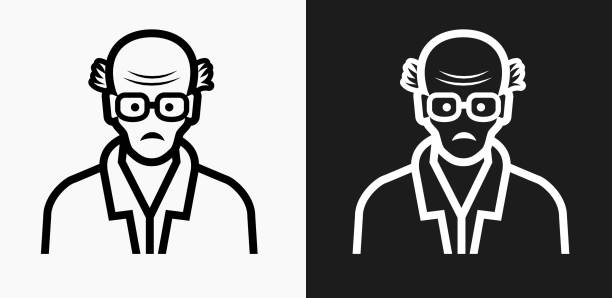 elderly man face icon on black and white vector backgrounds - old man clipart stock illustrations, clip art, cartoons, & icons