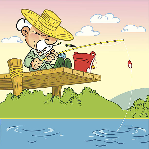 bildbanksillustrationer, clip art samt tecknat material och ikoner med elderly man fishing - aktiva pensionärer utflykt