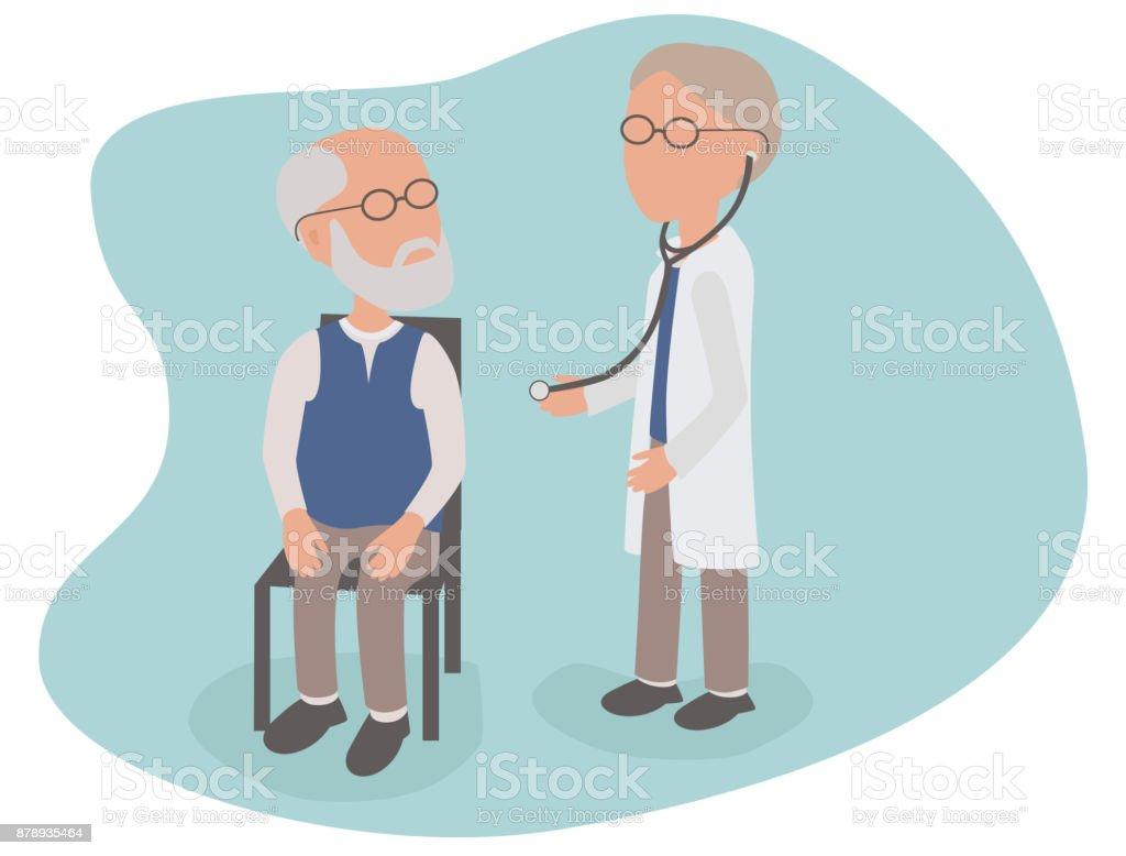 Älterer Mann Gesundheit Untersuchung vom Arzt mit Stethoskop – Vektorgrafik