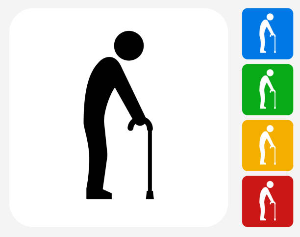 elderly man holding cane icon flat graphic design - old man stick figure silhouette stock illustrations, clip art, cartoons, & icons