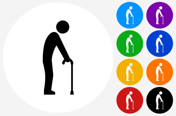 elderly man holding cane icon on flat color circle buttons - old man stick figure silhouette stock illustrations, clip art, cartoons, & icons