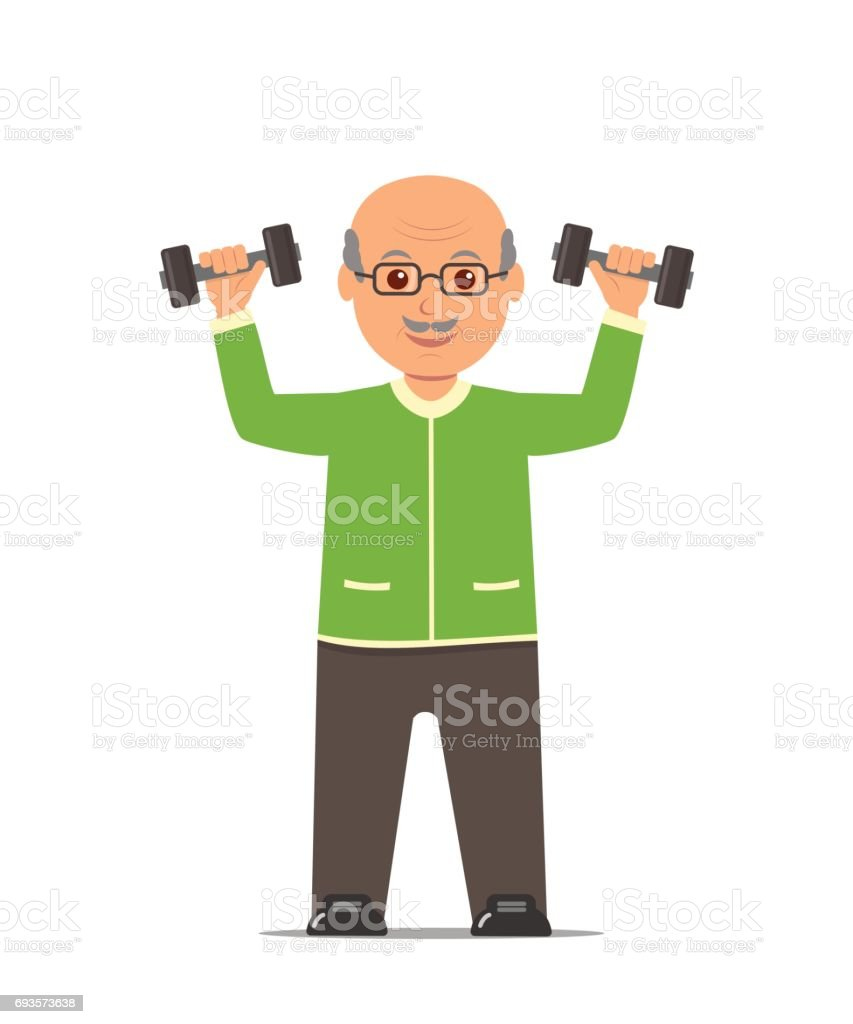 Elderly man in a sports suit trains with dumbbells. Active and healthy lifestyle old people. vector art illustration