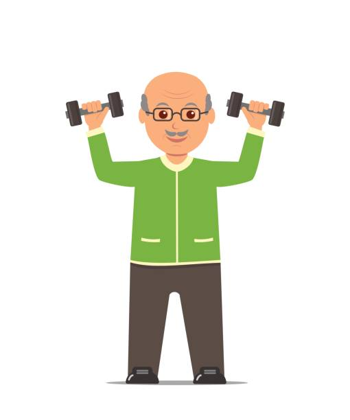 elderly man in a sports suit trains with dumbbells. active and healthy lifestyle old people. - old man computer silhouette stock illustrations, clip art, cartoons, & icons