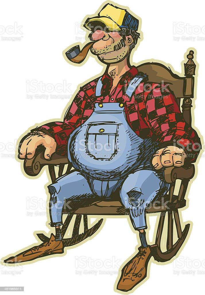 Elderly Man In Rocking Chair Vector Cartoon Stock Vector