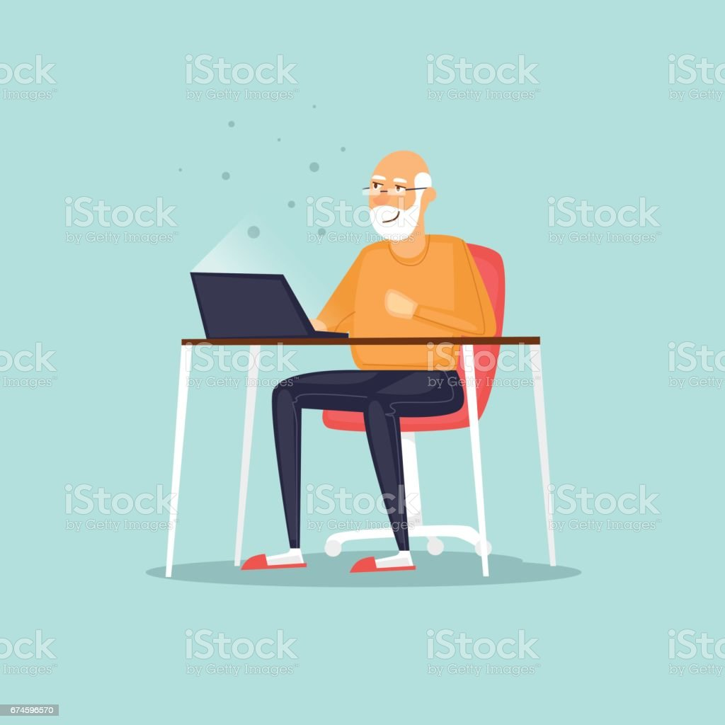 Elderly man is sitting on the Internet. Vector illustration flat style. vector art illustration