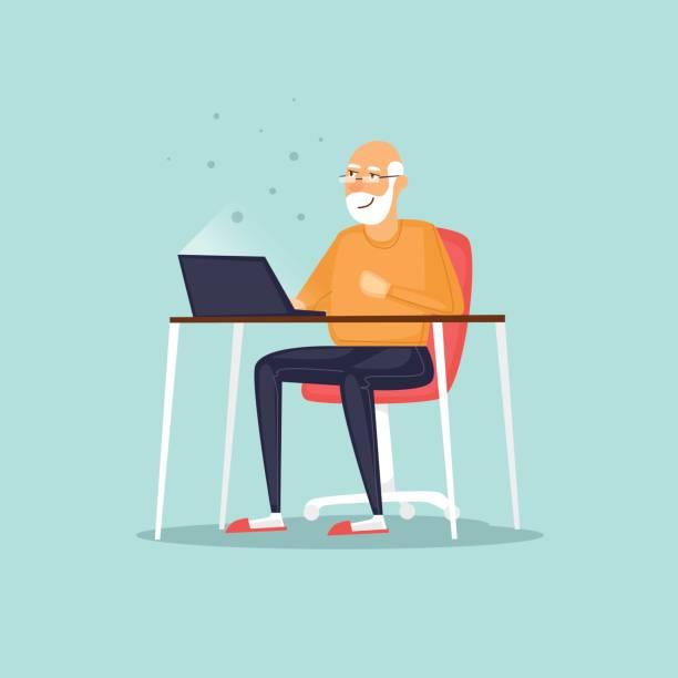 Älterer Mann sitzt auf dem Internet. Vektor-Illustration flachen Stil. – Vektorgrafik