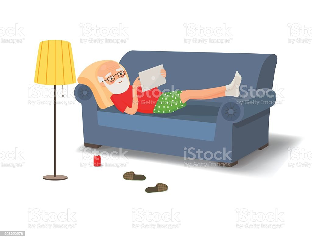 Elderly man lying on the couch with a tablet vector art illustration