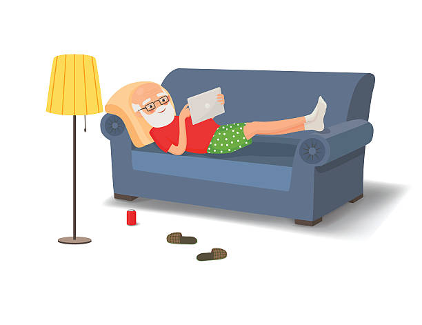 elderly man lying on the couch with a tablet - old man computer silhouette stock illustrations, clip art, cartoons, & icons