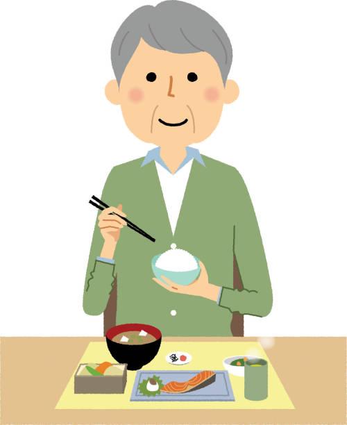 高齢者, 食事 - 和食点のイラスト素材/クリップアート素材/マンガ素材/アイコン素材