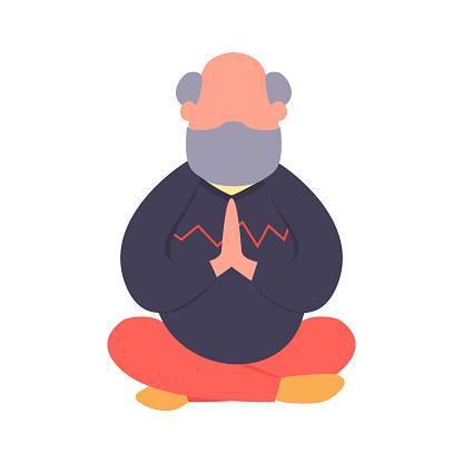 elderly man meditating in a lotus pose simple flat old man