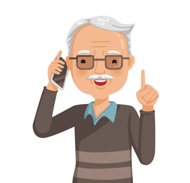 Elderly man on phone Elderly man on phone and smiling. Talking on the phone. Hold up. Old man's face with glasses are laughing happily . Daily life with the use of communication tools. Business during retirement. Vector one senior man only illustrations stock illustrations