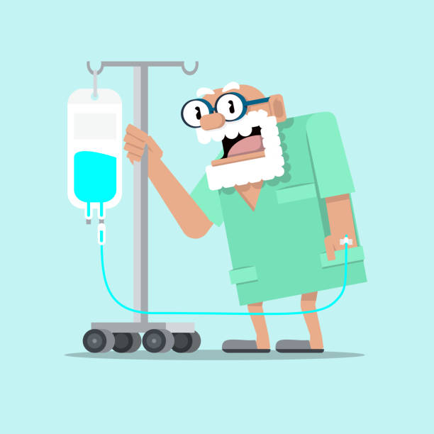 elderly man patient with a dropper admitted to hospital - old man pajamas stock illustrations, clip art, cartoons, & icons