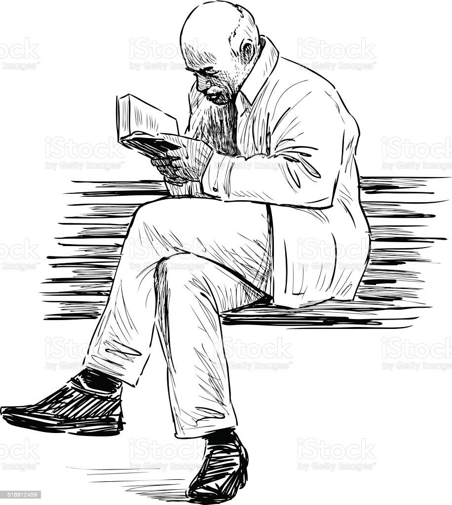 elderly man reading
