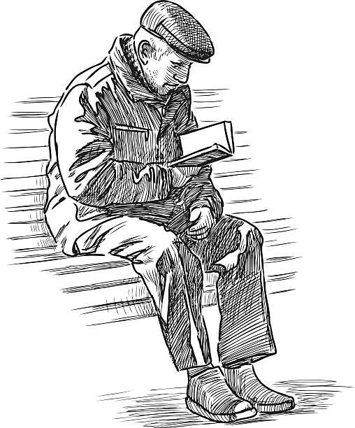 ilustrações, clipart, desenhos animados e ícones de homem idoso lê um livro - banco assento