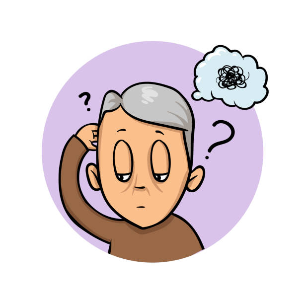 Elderly man scratching his head trying to remember or feeling confused. Confusion, memory loss. Flat design icon. Flat vector illustration. Isolated on white background. Elderly man scratching his head trying to remember or feeling confused. Confusion, memory loss. Colorful flat design icon. Flat vector illustration. Isolated on white background. careless stock illustrations