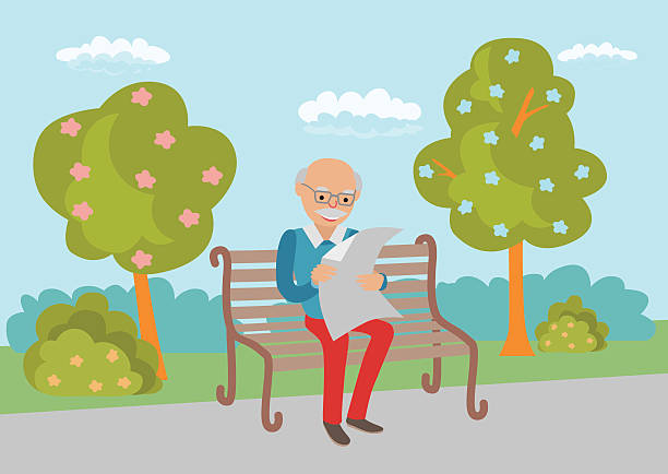 elderly man sitting on the park bench - old man sitting backgrounds stock illustrations, clip art, cartoons, & icons