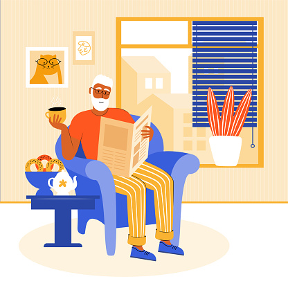 Elderly man stays at home during the quarantine. Grandfather is sitting in a chair by the window, reading a newspaper. Pensioner drinks tea with homemade cakes. Home leisure. Vector flat illustration