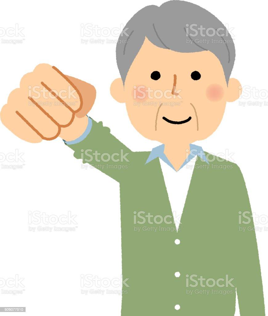 Elderly man, Victory Pause vector art illustration