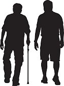 Vector silhouette of an elderly man walking with his caregiver.
