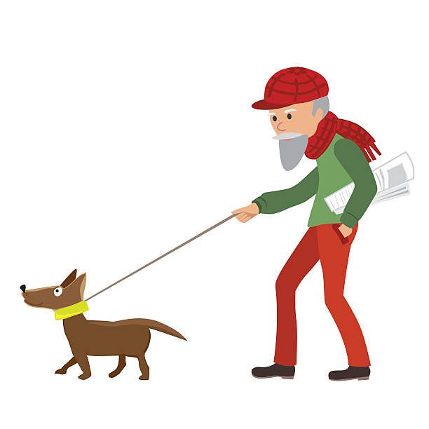 elderly man walking with his dog. vector illustration. - old man smiling silhouettes stock illustrations, clip art, cartoons, & icons