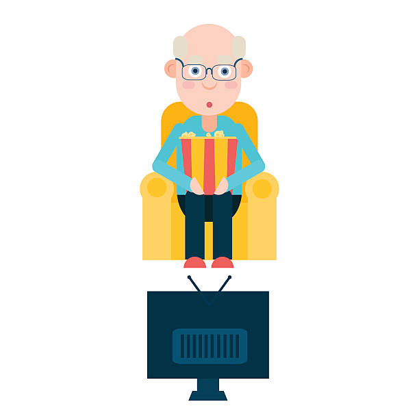 elderly man watches tv - old man sitting chair silhouettes stock illustrations, clip art, cartoons, & icons