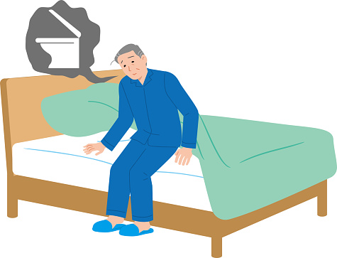 Elderly man who wants to go to the bathroom while sleeping