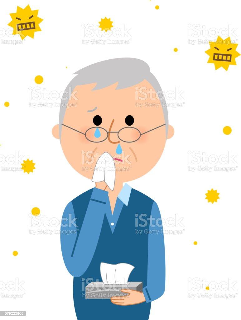 Elderly man,Hay fever vector art illustration