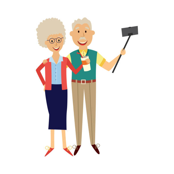 elderly married couple making photo of themselves using smartphone and selfie stick. - old man pic cartoons stock illustrations, clip art, cartoons, & icons