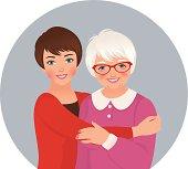Illustration adult daughter embracing her elderly mother